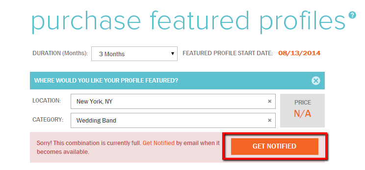 GigMasters can email you when ad space becomes available