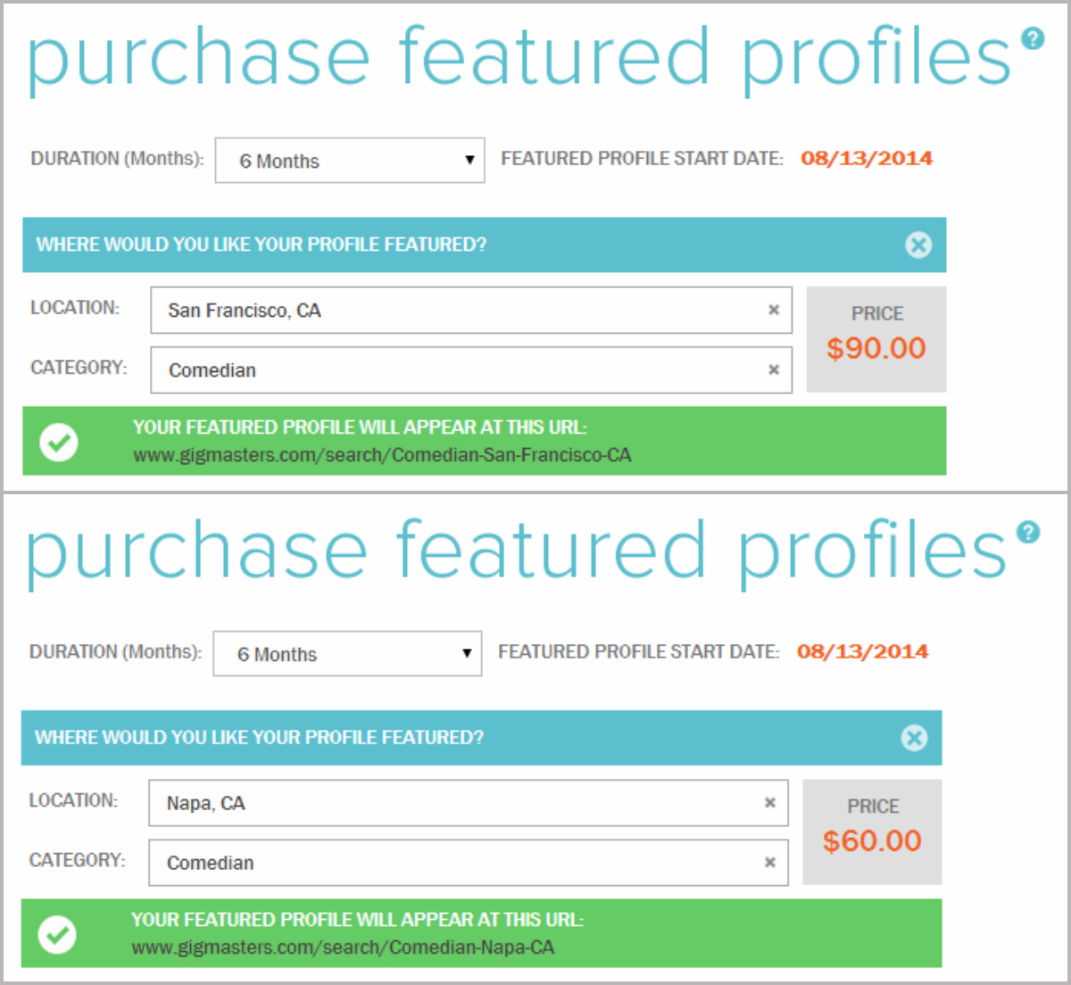 You can purchase Featured Profiles on your own with our self-checkout tool
