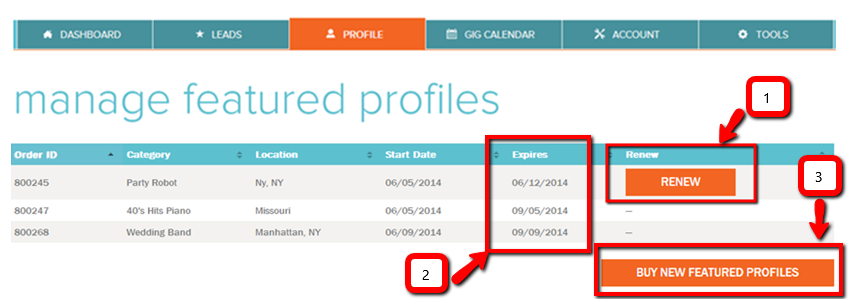 How to renew expired Featured Profiles