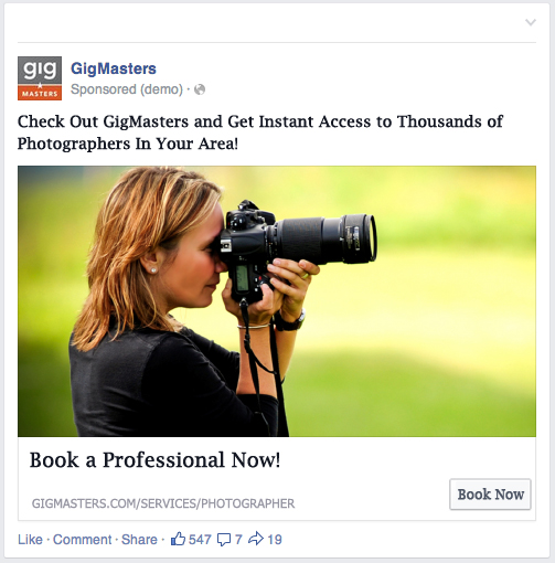 Facebook ad to help GigMasters' photographers