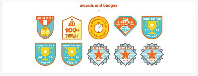 GigMasters profile - Awards and Badges section