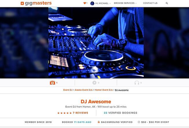 Top of the new GigMasters profile