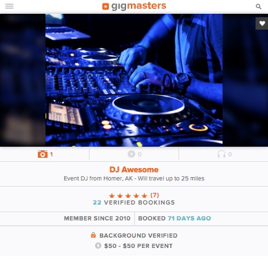 GigMasters profile - mobile view