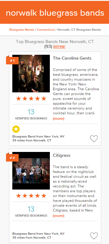 GigMasters Mobile Search Results